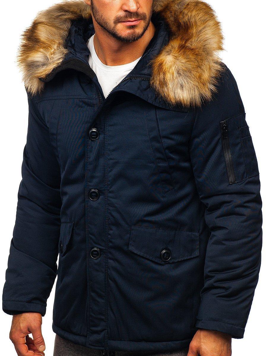 Geacă de iarnă parka alaska bleumarin Bolf JK355