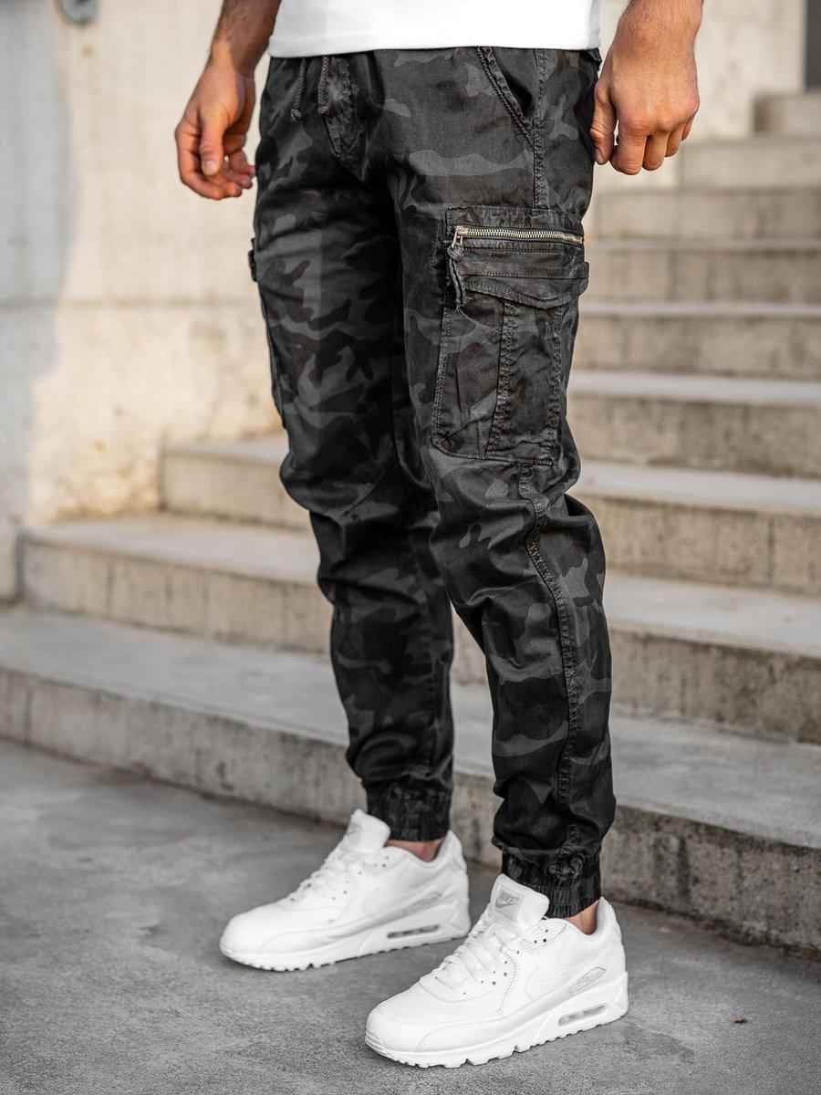 Pantaloni cargo negri Bolf CT6025S0