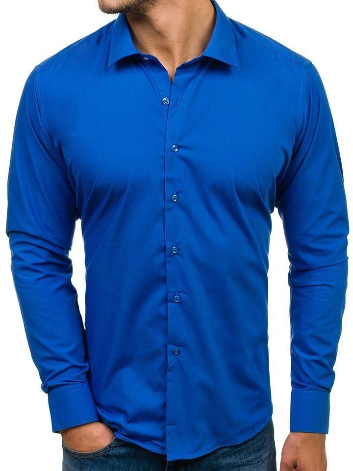 Cămașă elegantă cu mâneca lungă pentru bărbat albastru-cobalt Bolf TS100