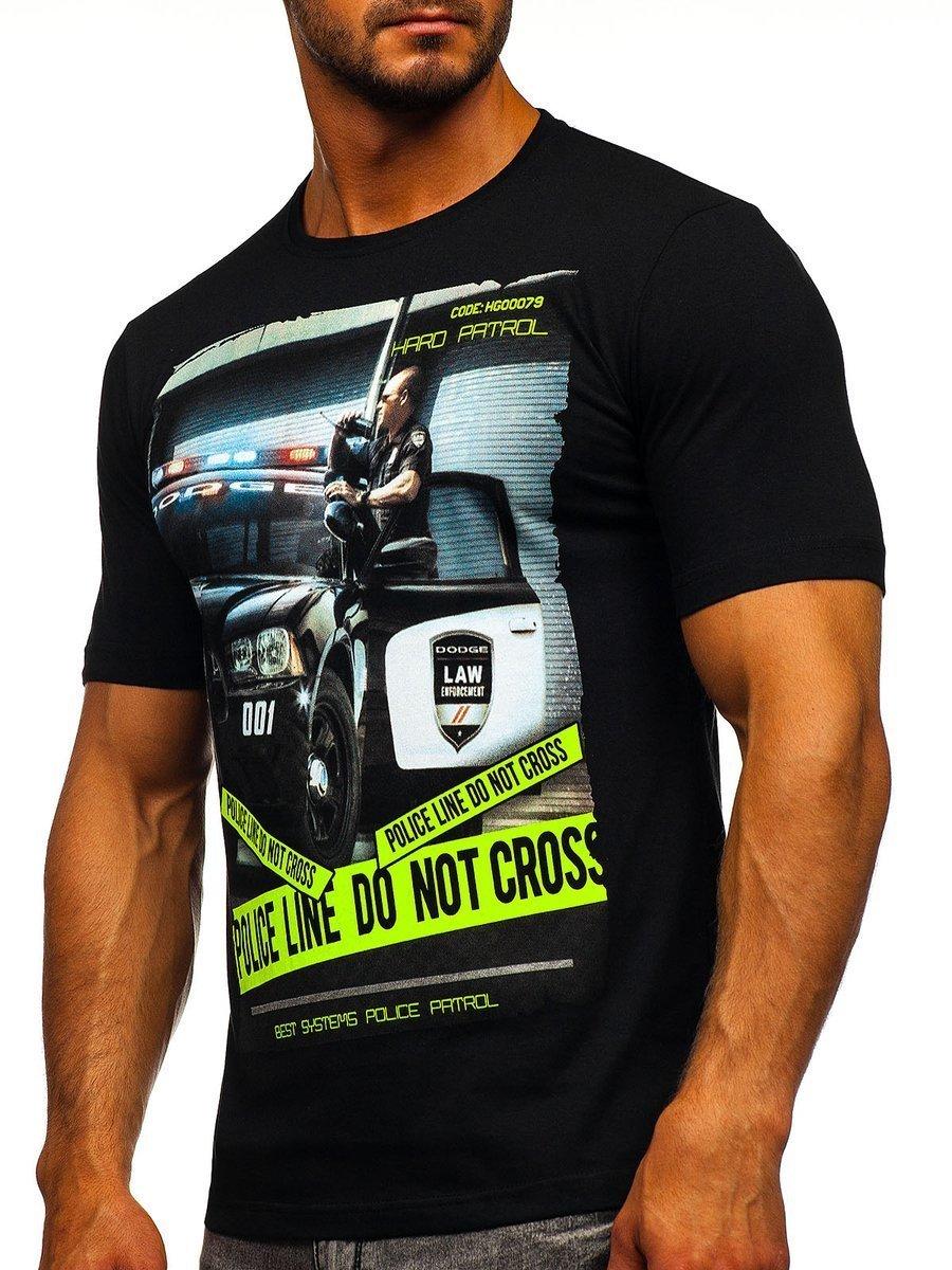 T-shirt pentru bărbat cu imprimeu negru Bolf 6298 imagine