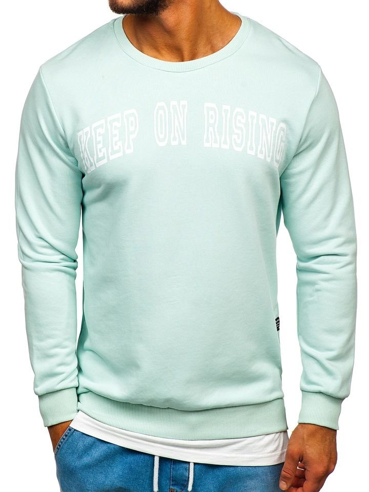 Bluză cu imprimeu bărbați verde-mentă Bolf 11114