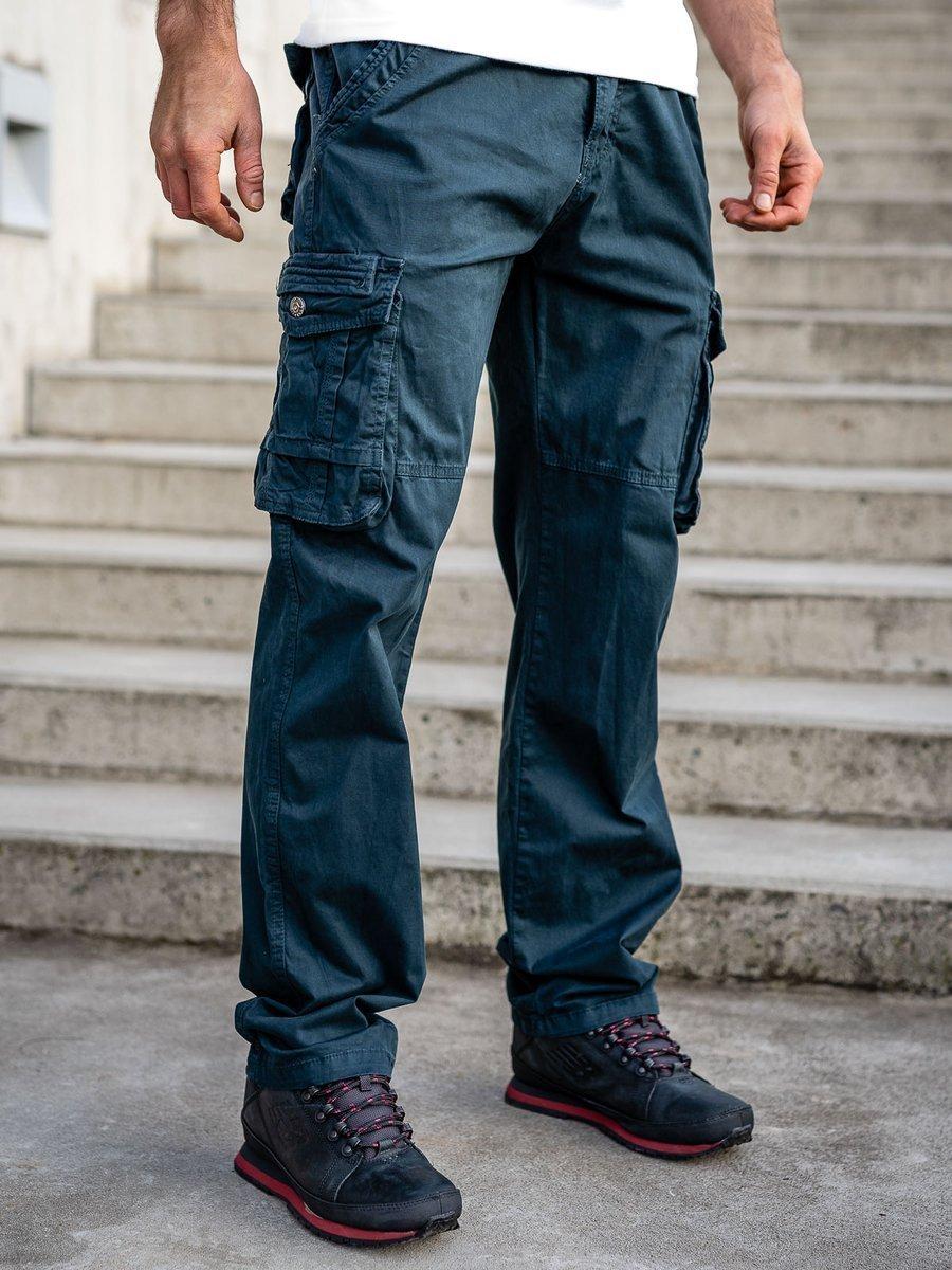 Pantaloni plus size bleumarin cargo cu curea Bolf CT8901 imagine