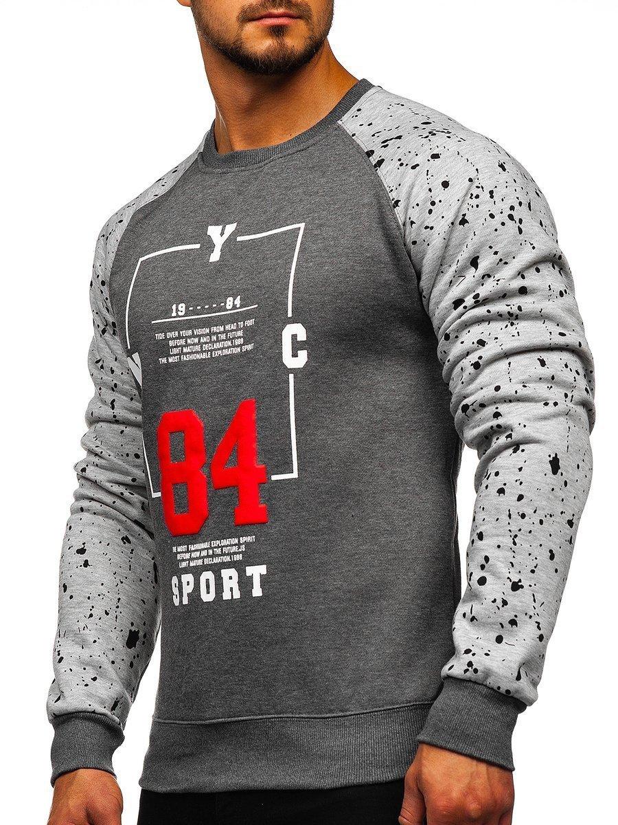 Bluză pentru bărbat fără glugă cu imprimeu grafit Bolf DD07 imagine