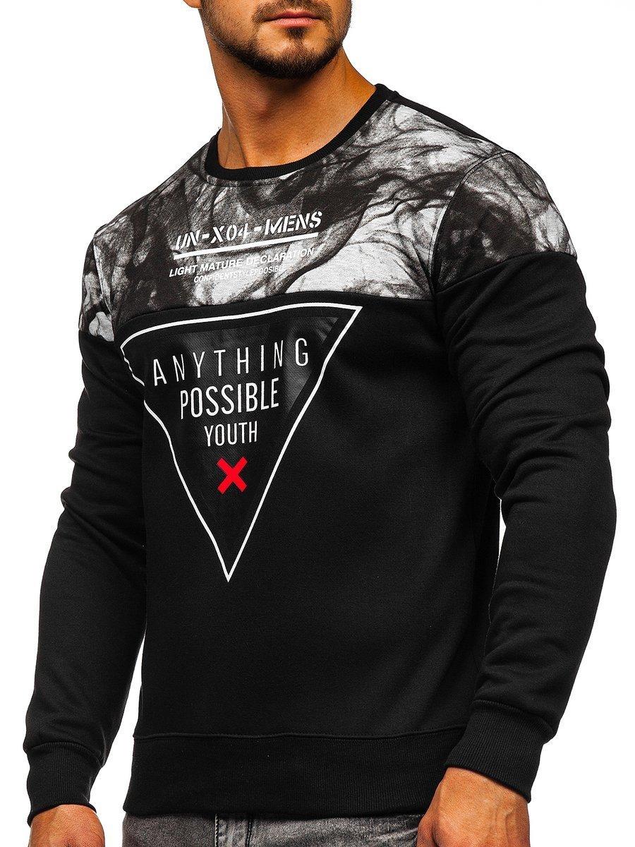 Bluză pentru bărbat fără glugă cu imprimeu neagră Bolf DD106