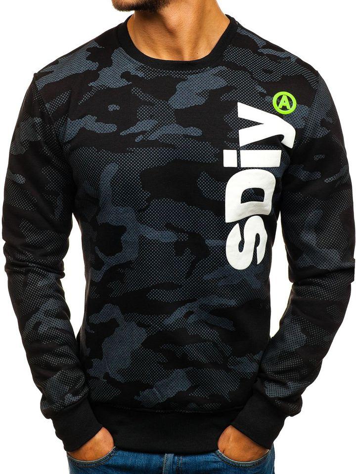 Bluză pentru bărbat fără glugă cu imprimeu neagră Bolf DD08 imagine