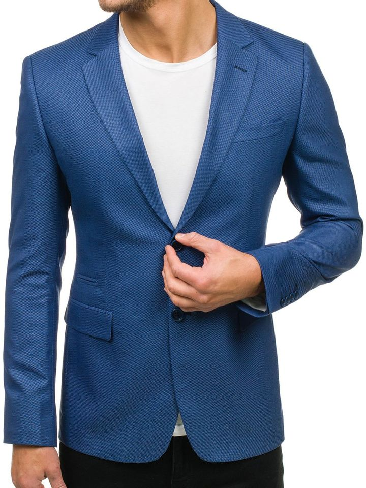 Sacou elegant pentru bărbat albastru-deschis Bolf 1050 imagine