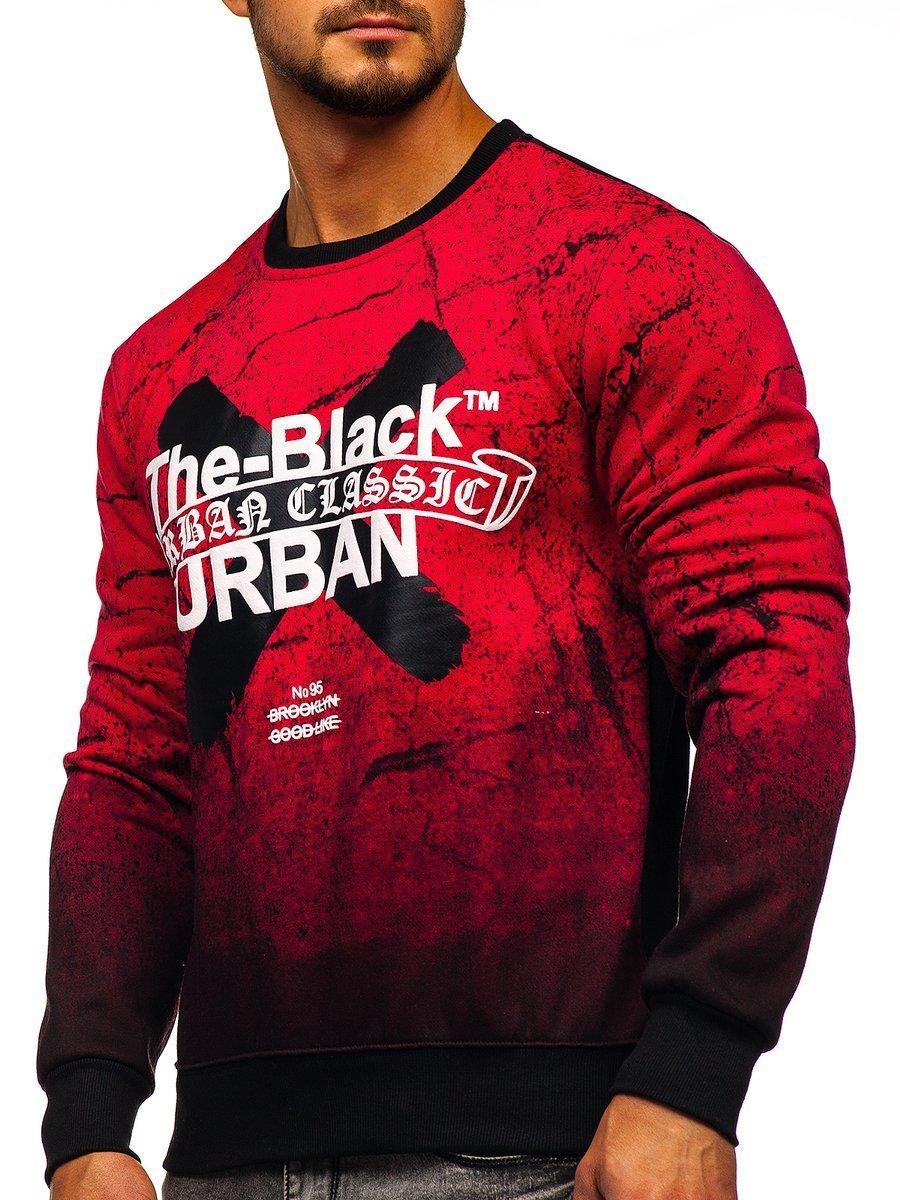 Bluză pentru bărbat fără glugă cu imprimeu roșie Bolf DD259 imagine