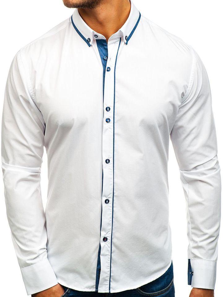Cămașă elegantă pentru bărbat cu mâneca lungă albă Bolf 8823
