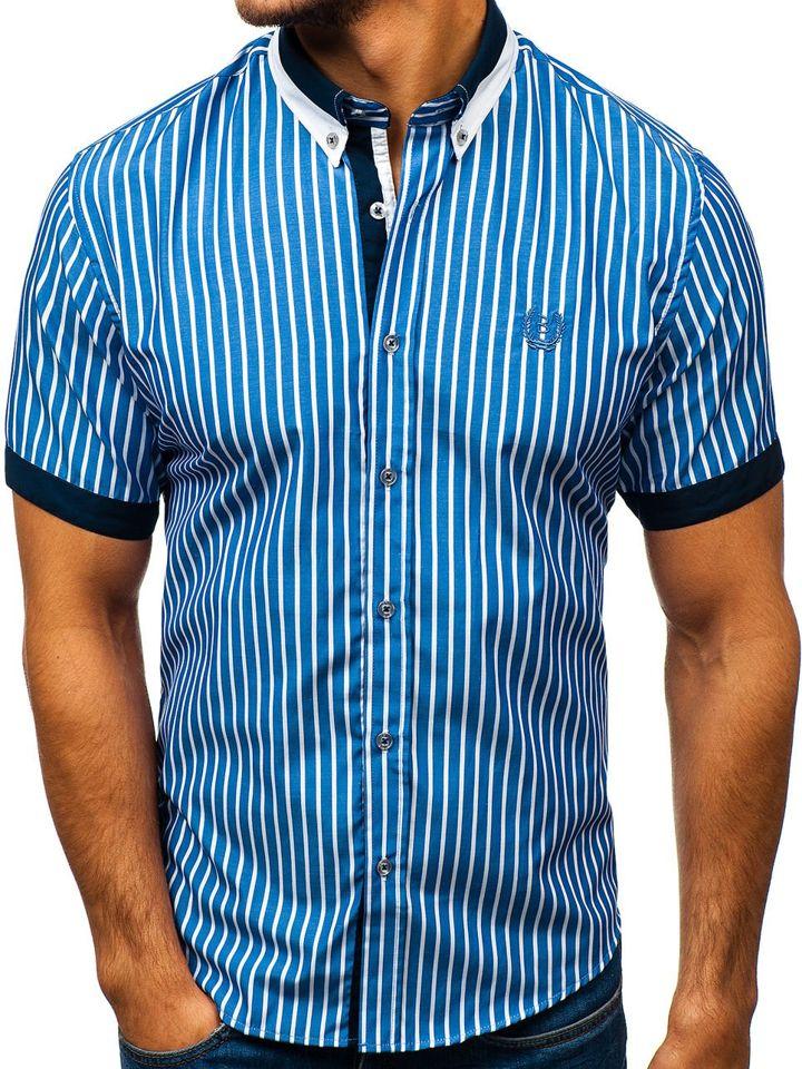 Cămașă elegantă pentru bărbat în carouri cu mâneca scurtă albastră Bolf 4501 imagine