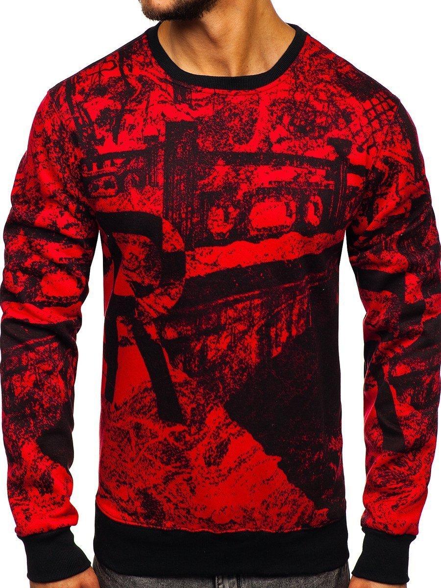Bluză fără glugă cu imprimeu pentru bărbat roșie Bolf DD659