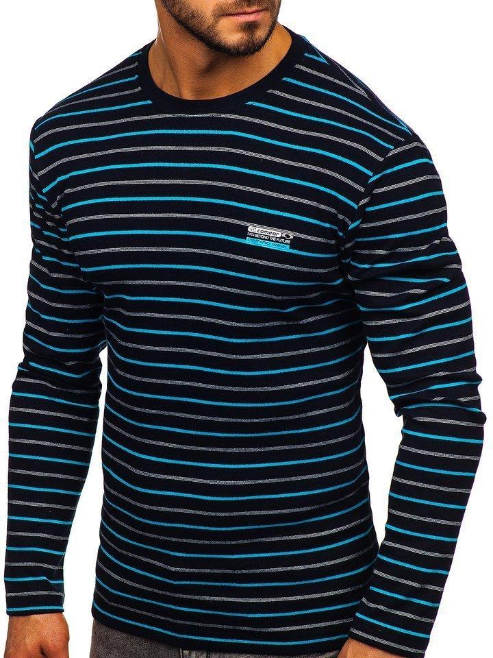 Bluza în dungi bărbati neagră-albastra Bolf 1519
