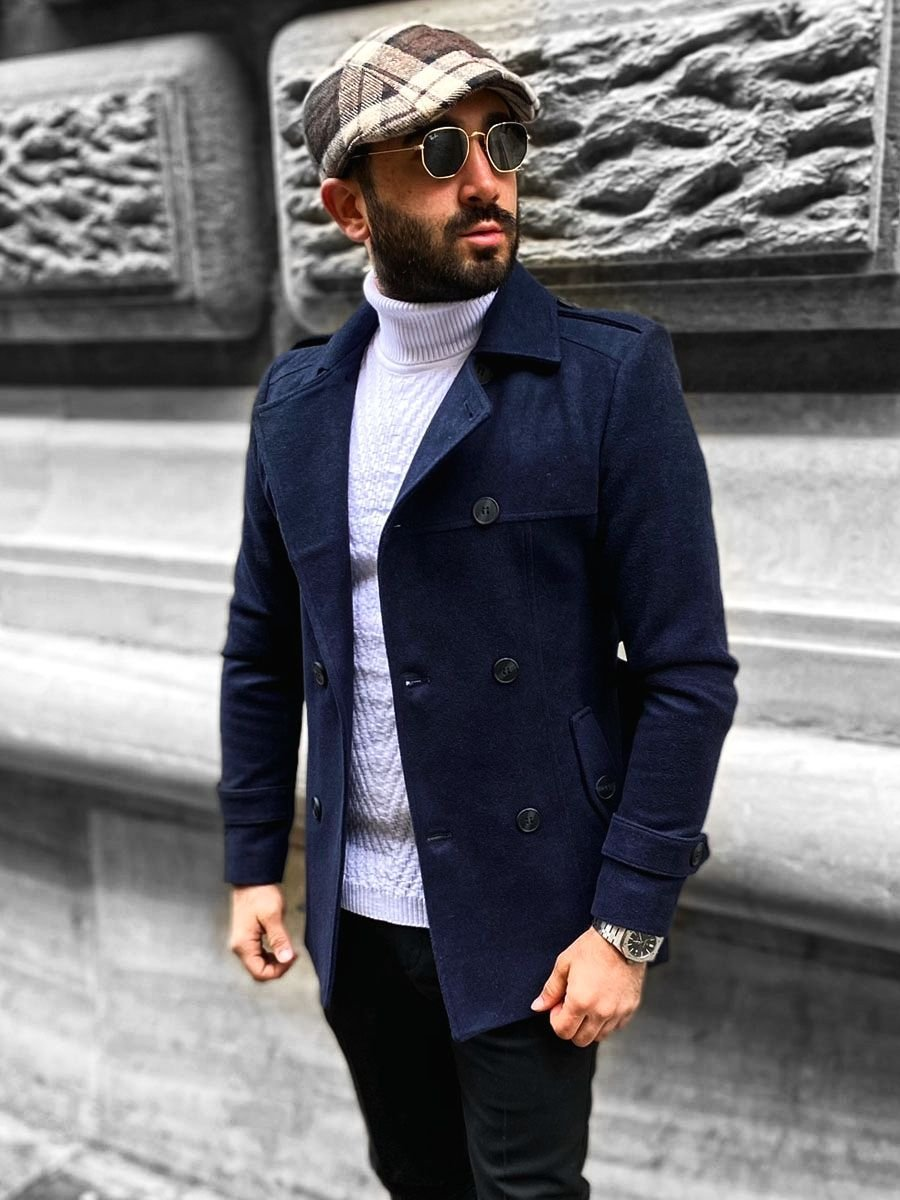 Palton bleumarin de iarnă două rânduri de nasturi guler înalt Bolf 0009 imagine