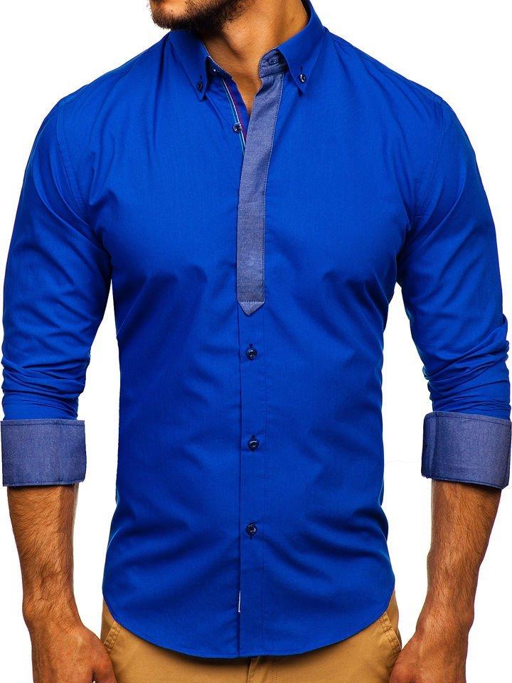 Cămașă elegantă cu mâneca lungă pentru bărbat albastră-aprins Bolf 3725 imagine