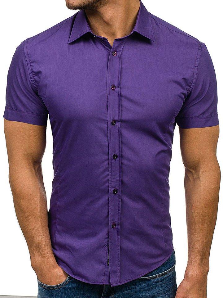 Cămașă elegantă cu mâneca scurtă pentru bărbat violet Bolf 7501 imagine