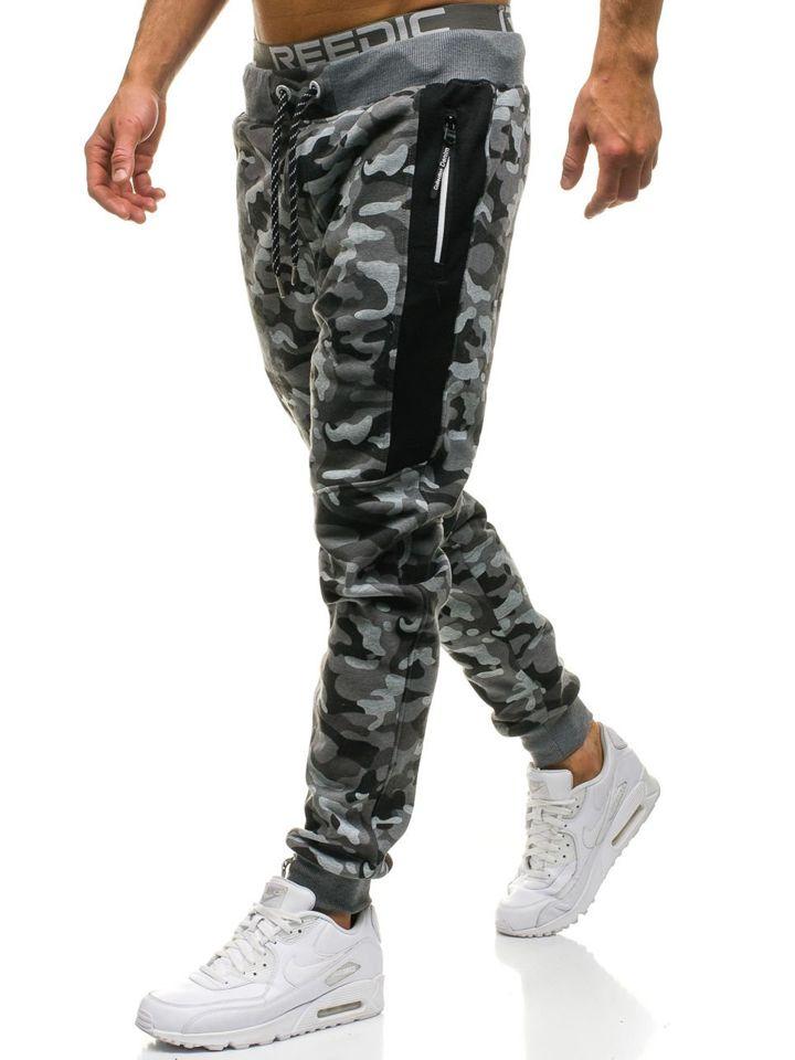 Pantaloni de trening bărbați camuflaj-gri Bolf QN271