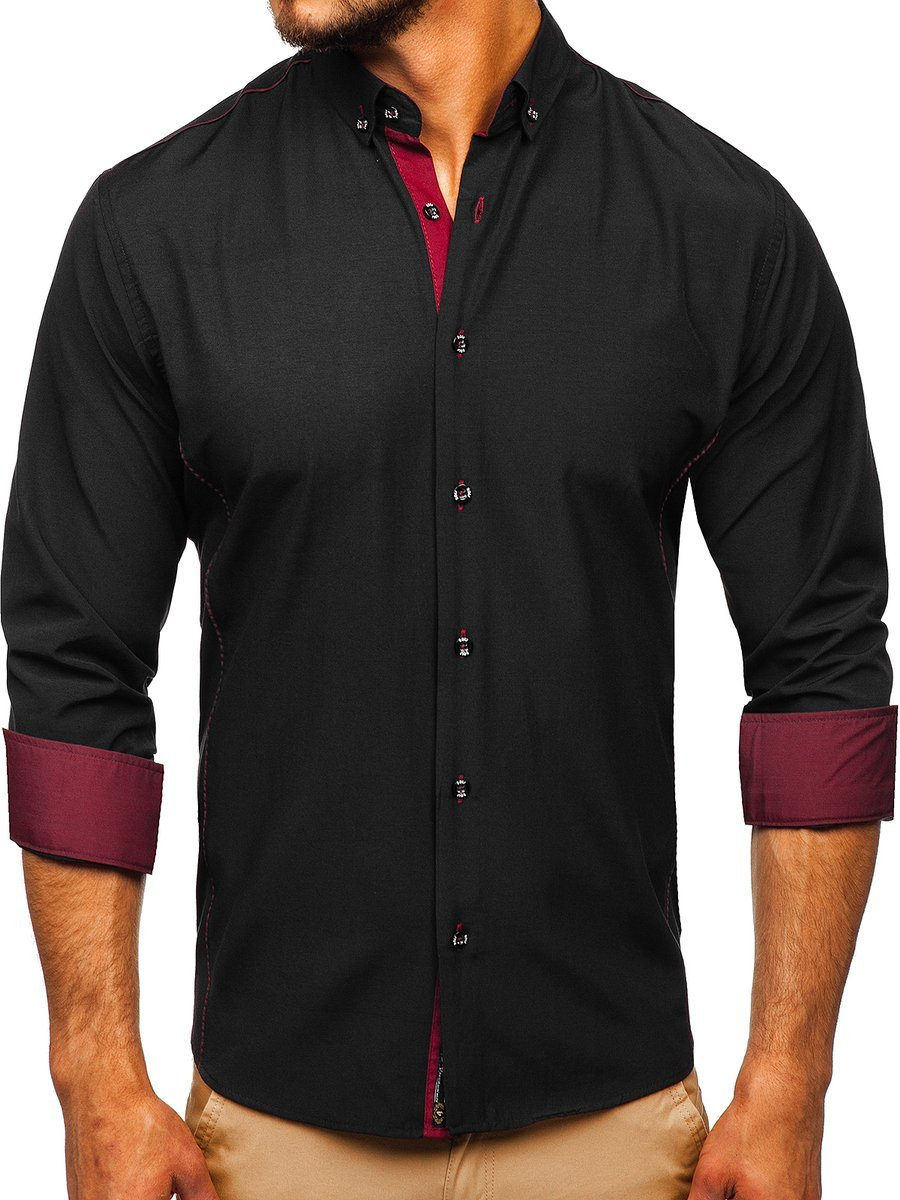 Cămașă elegantă pentru bărbat cu mâneca lungă neagră-bordo Bolf 5722-1
