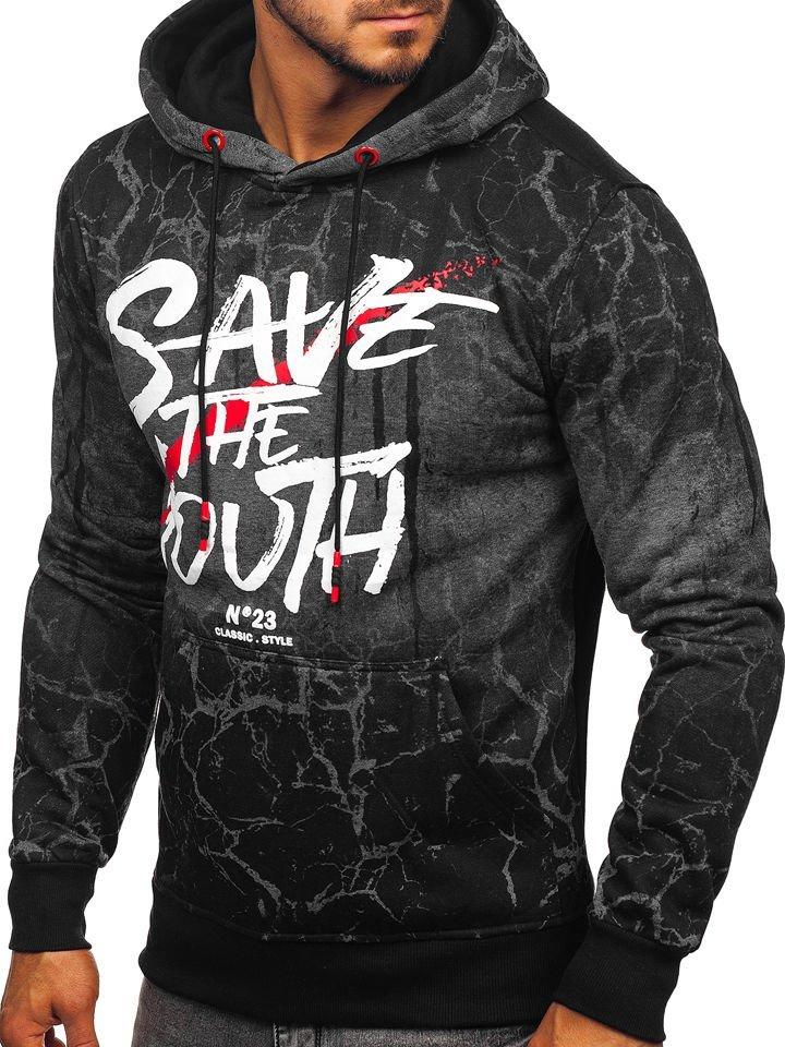 Bluză pentru bărbat cu glugă și imprimeu grafit Bolf DD267