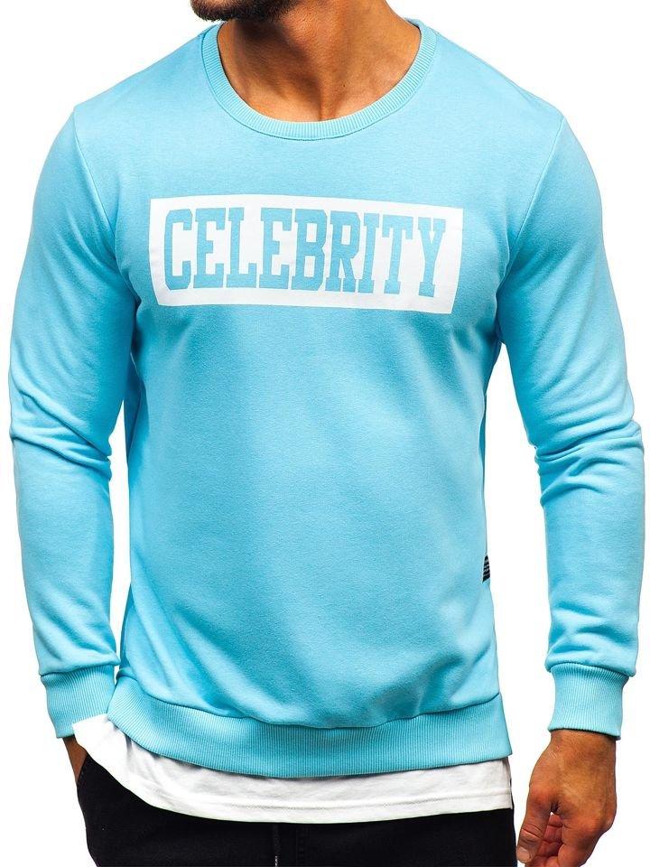 Bluză cu imprimeu bărbați albastru-deschis Bolf 11115 imagine