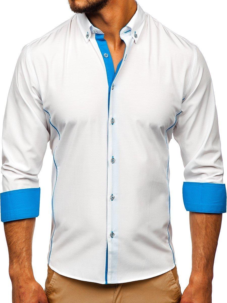 Cămașă elegantă cu mâneca lungă bărbați alb-albastru Bolf 5722-1-A