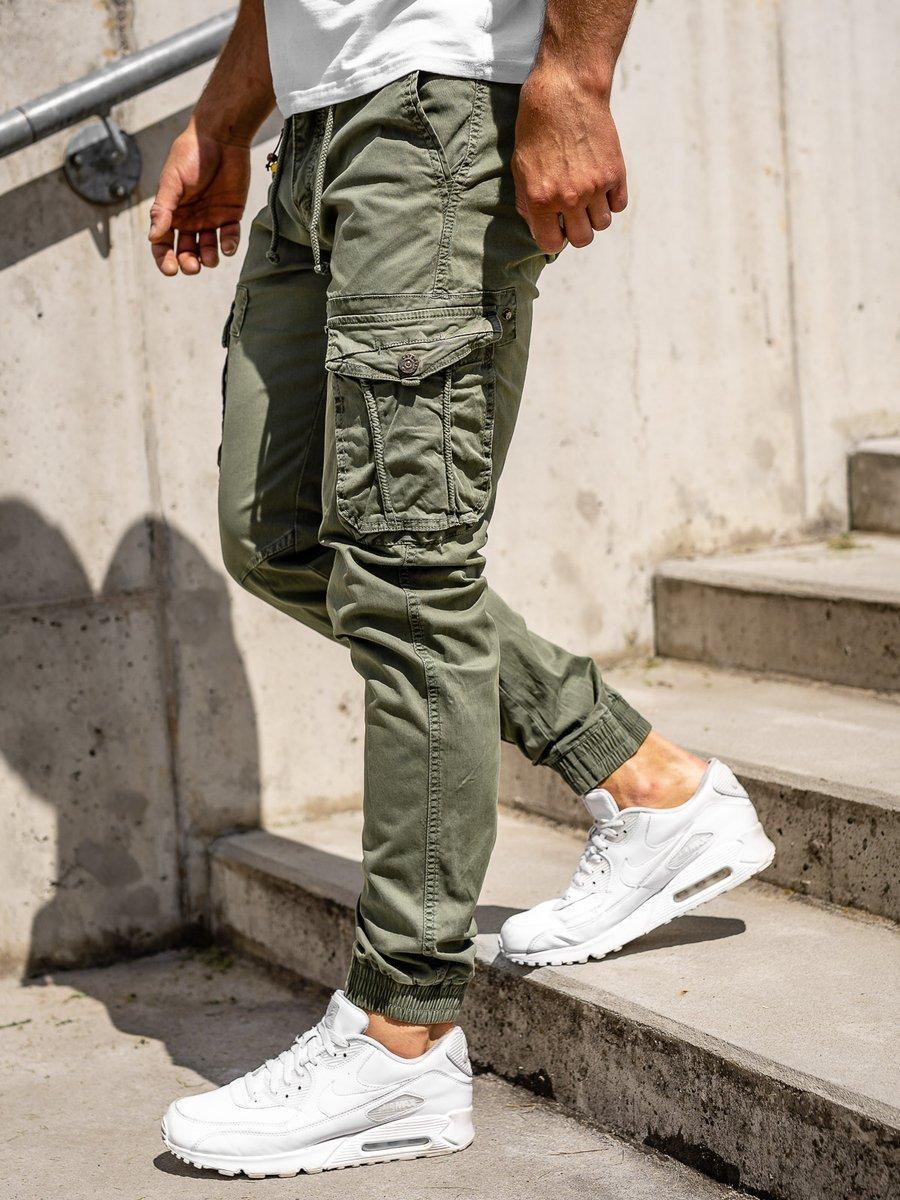 Pantaloni cargo joggers verde-deschis bărbați Bolf CT6703