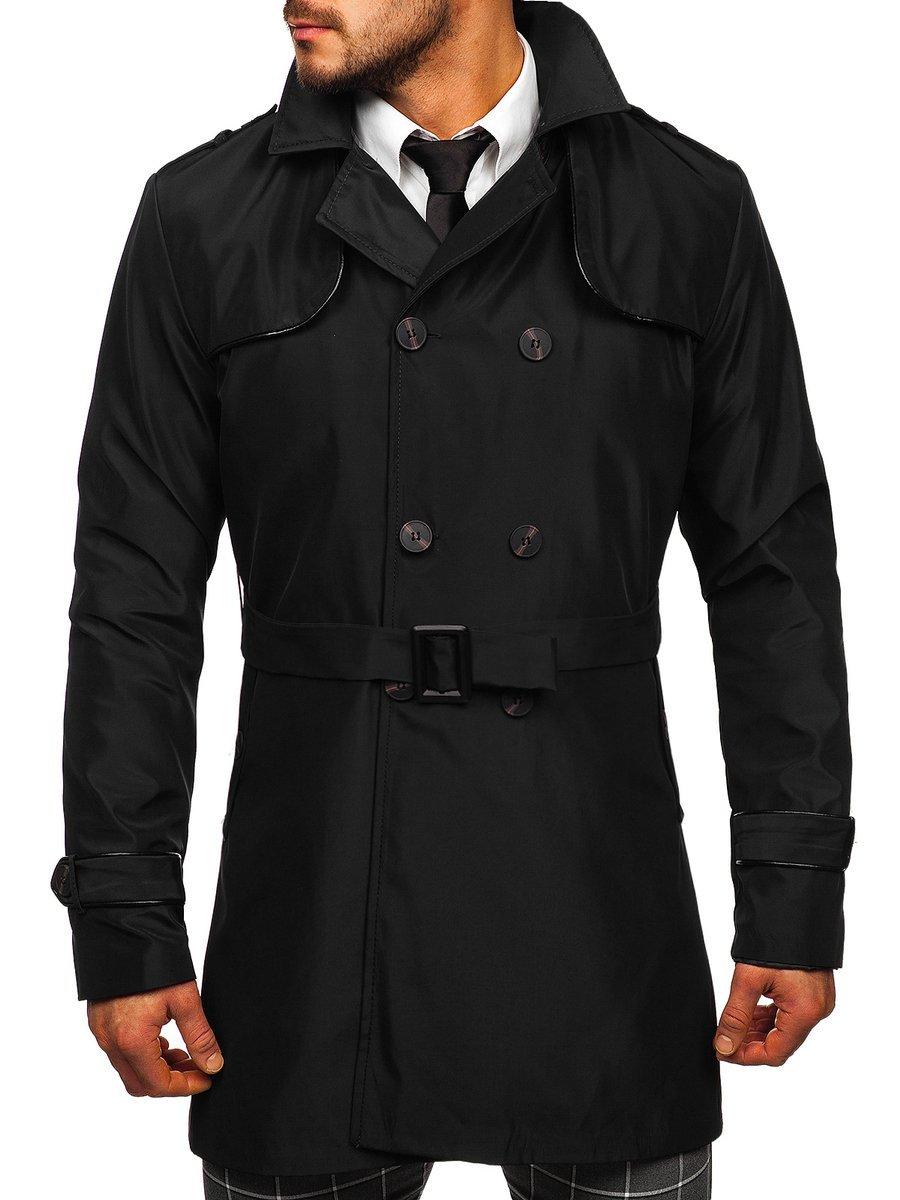 Palton negru guler înalt cu două rânduri de nasturi și curea Bolf 0001 imagine