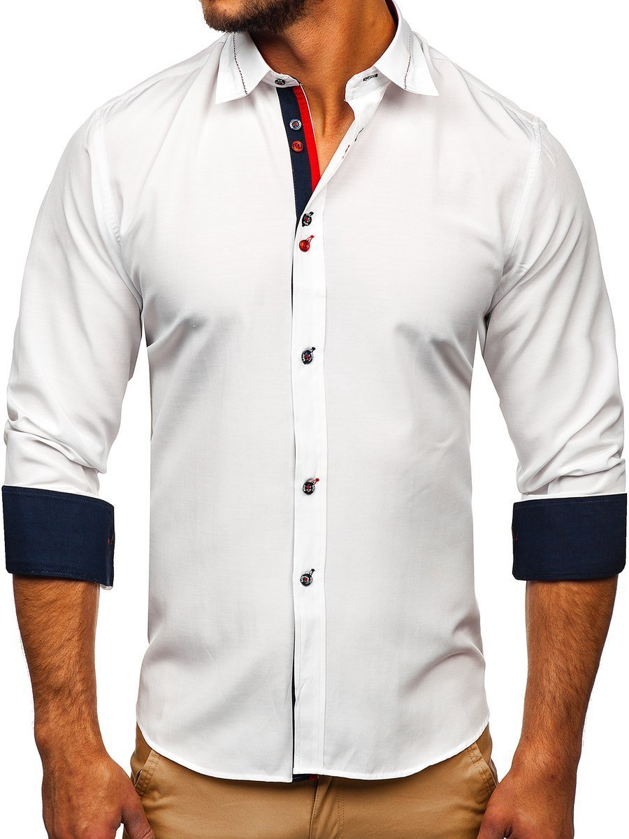 Cămașă elegantă pentru bărbat cu mâneca lungă albă Bolf 5826