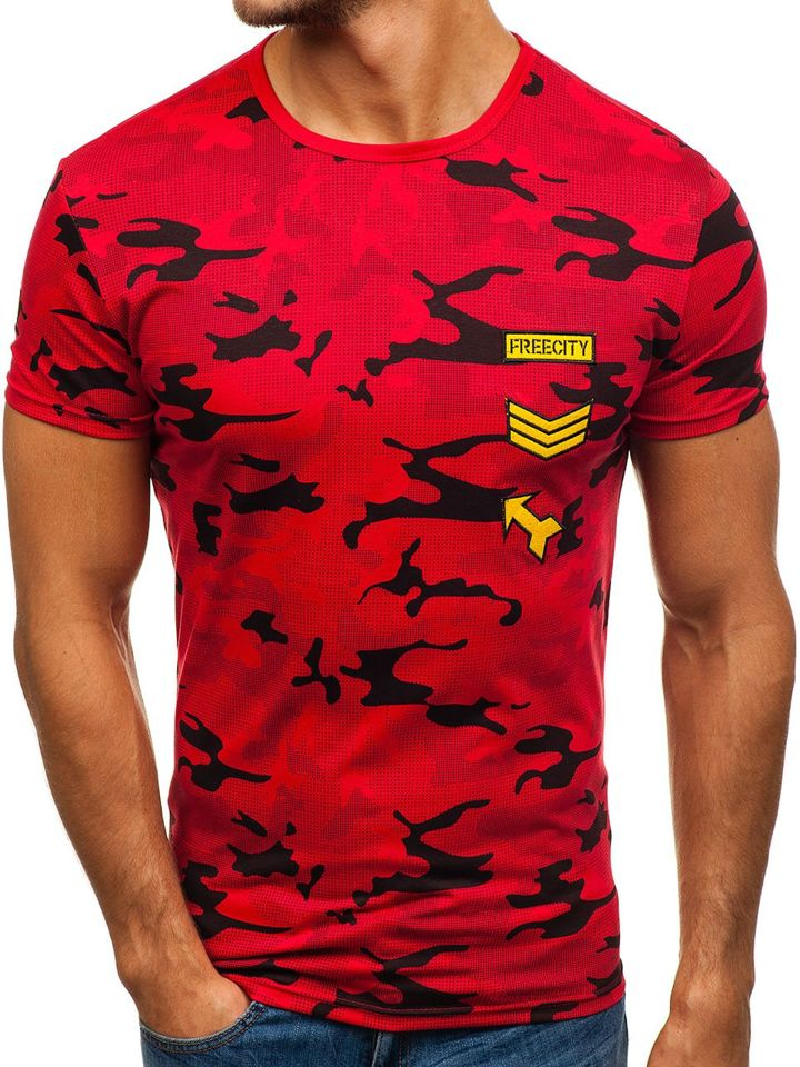 T-shirt pentru bărbat cu imprimeu roșu Bolf SS331