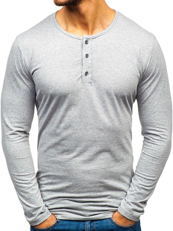 Long sleeve henley pentru bărbat gri Bolf 1114