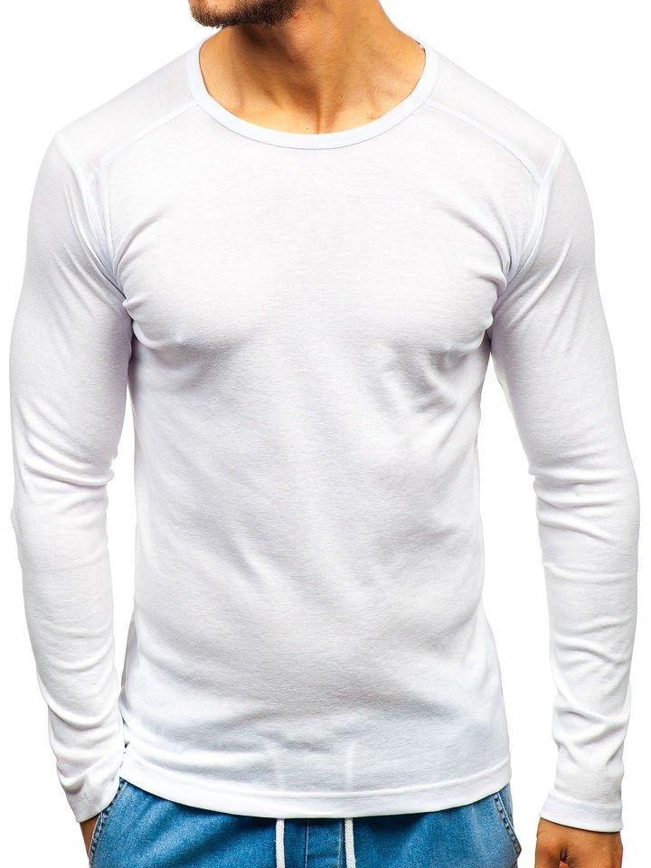 Long sleeve pentru bărbați fără imprimeu alb Bolf C10045