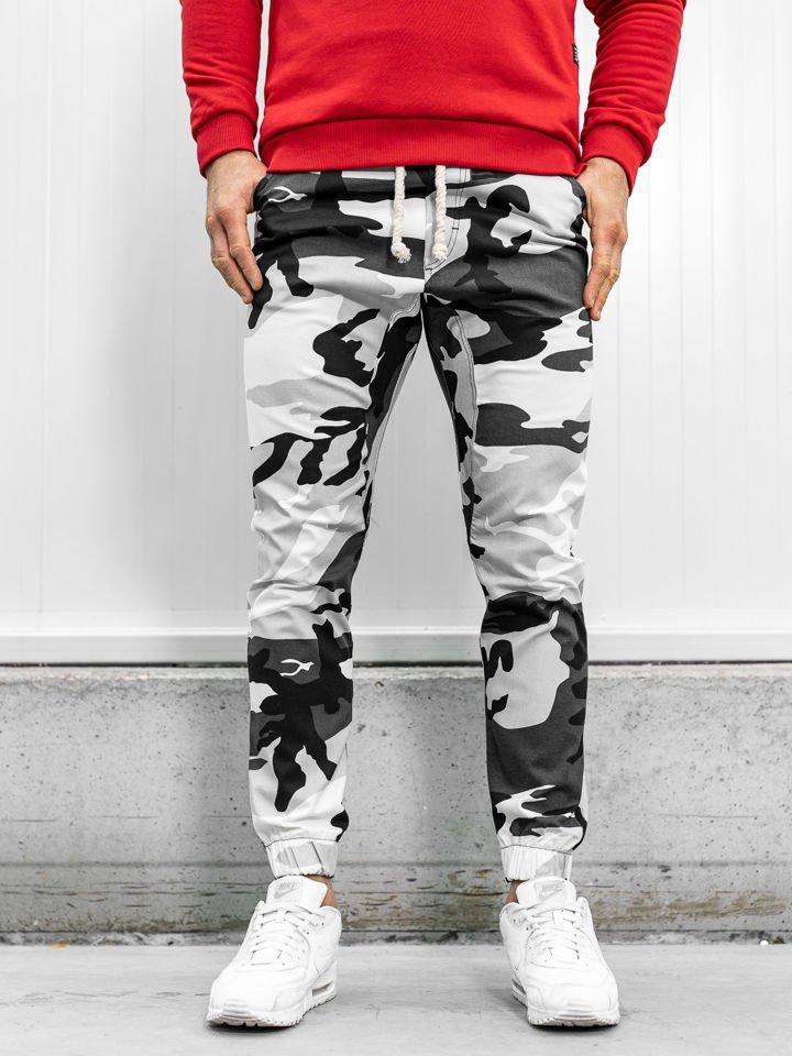 Pantaloni joggers bărbați camuflaj-negri Bolf 0367