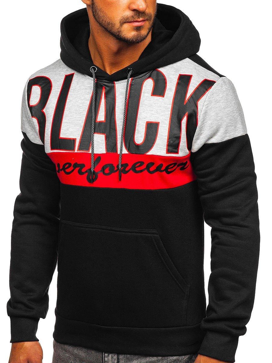Hanorac negru cu imprimeu Bolf KS2120