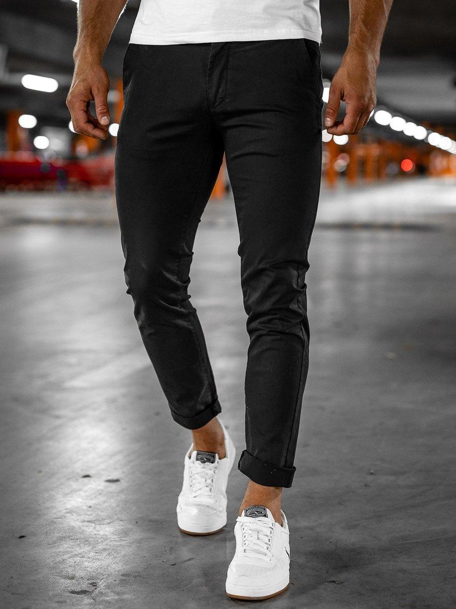 Pantaloni chinos negri Bolf 1146-1 imagine