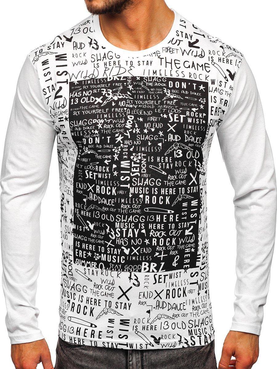 Bluză cu imprimeu albă Bolf 1213
