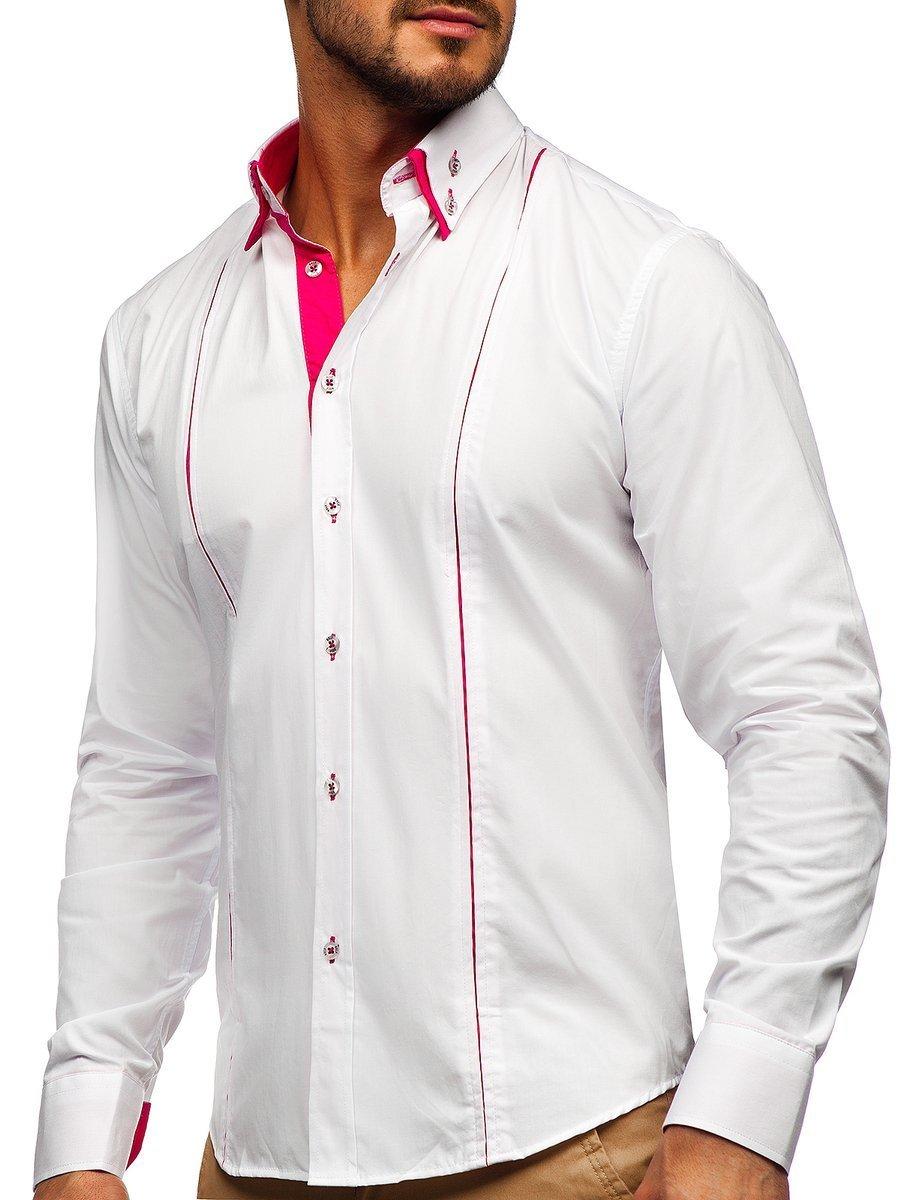Cămașă elegantă pentru bărbat cu mâneca lungă alb-roz Bolf 4744