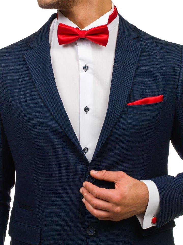 Set pentru bărbat cravată, butoni, batistă roșu-deschis Bolf KSP01 imagine