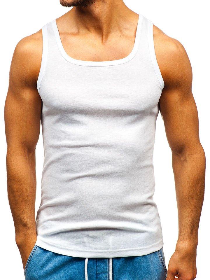 Maiou pentru bărbați fără imprimeu alb Bolf C10043 imagine