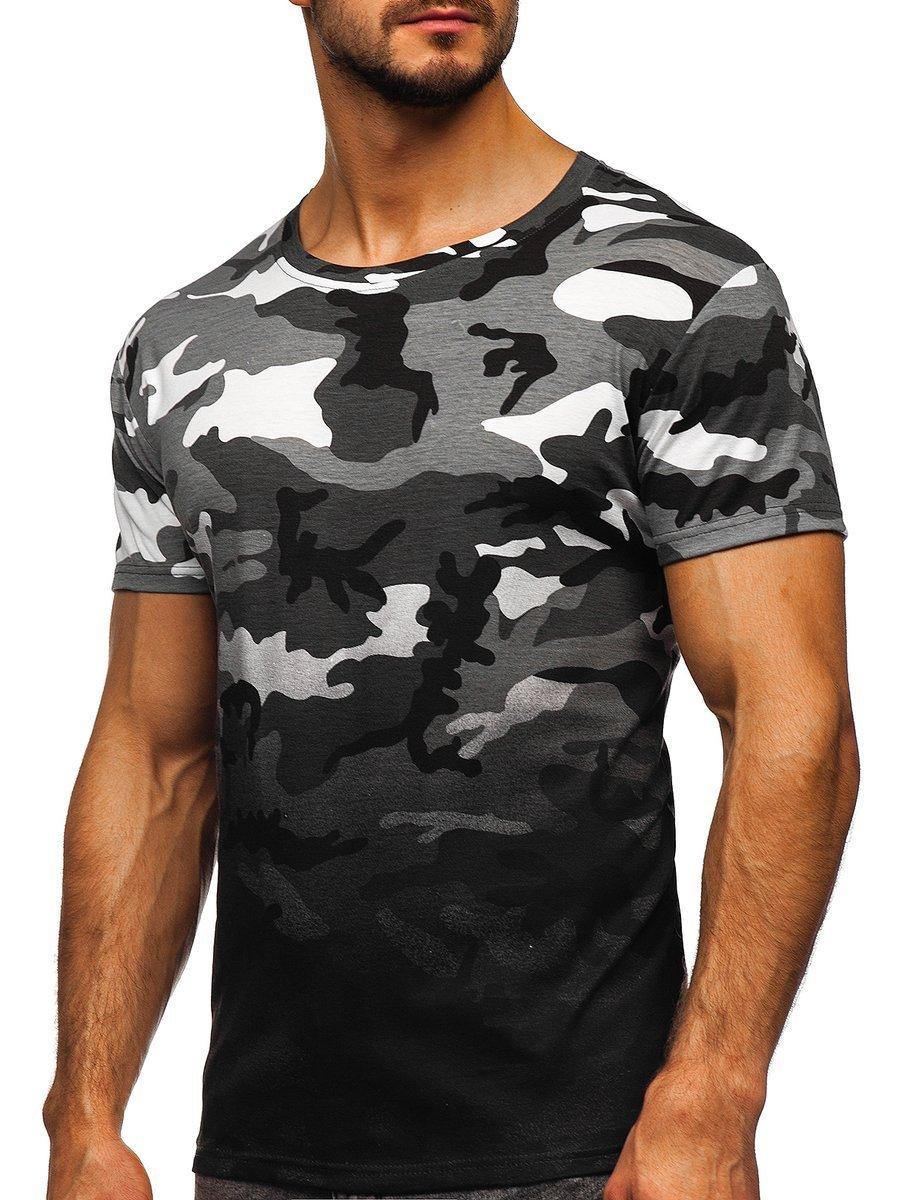 Tricou cu imprimeu bărbați camuflaj-gri Bolf S808