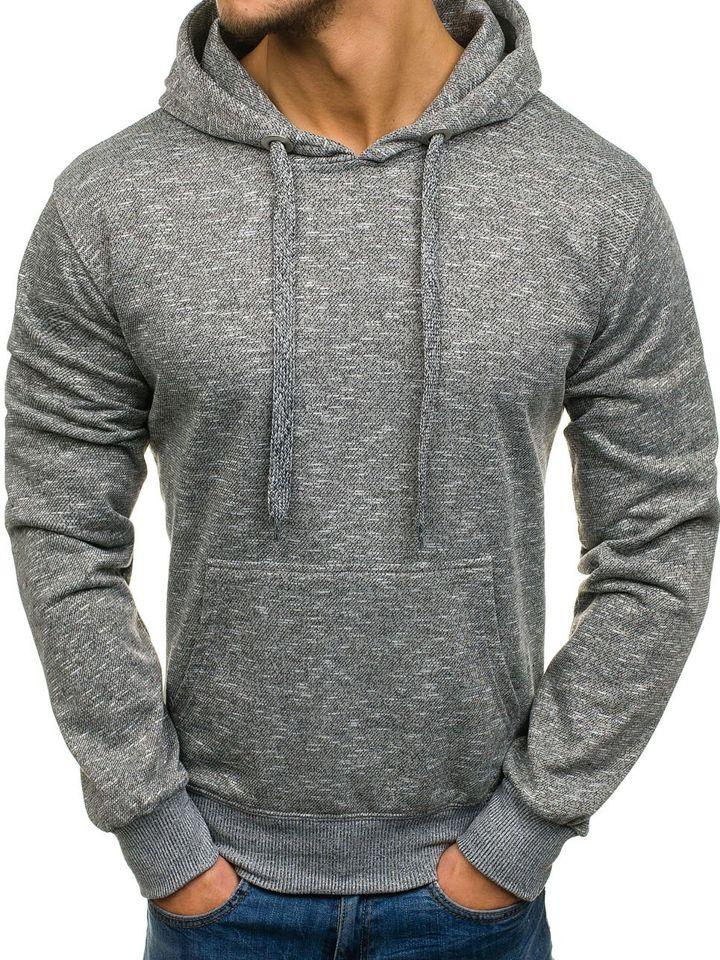 Bluză cu glugă pentru bărbat gri-închis Bolf 7035
