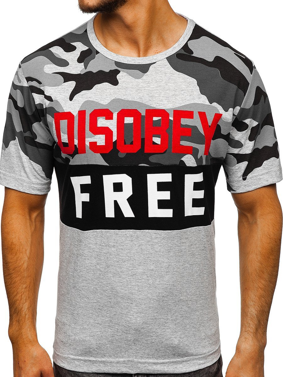T-shirt pentru bărbat cu imprimeu camuflaj-gri Bolf 6308