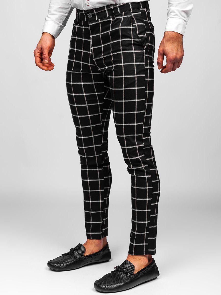 Pantaloni negri chinos în carouri Bolf 0002 imagine