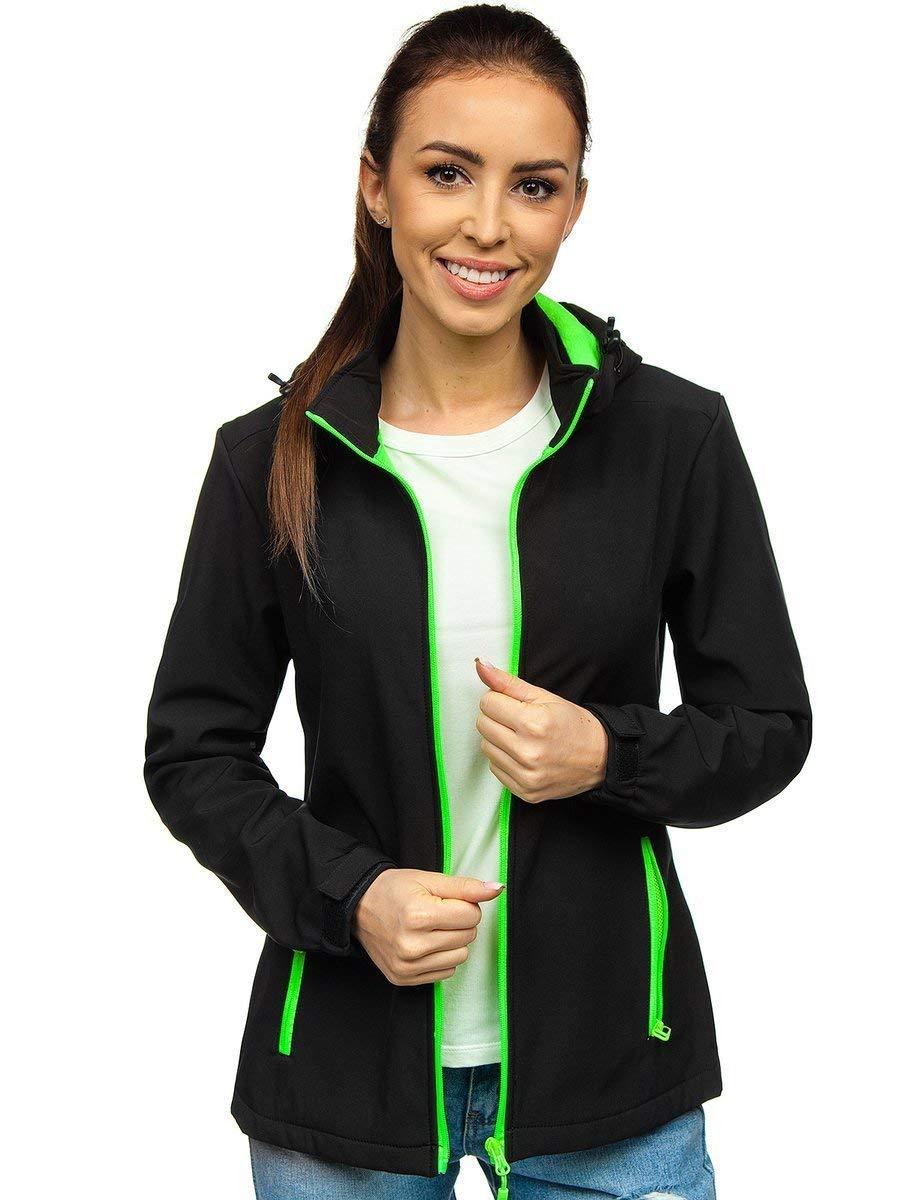 Geacă neagră-verde softshell dame Bolf HH018