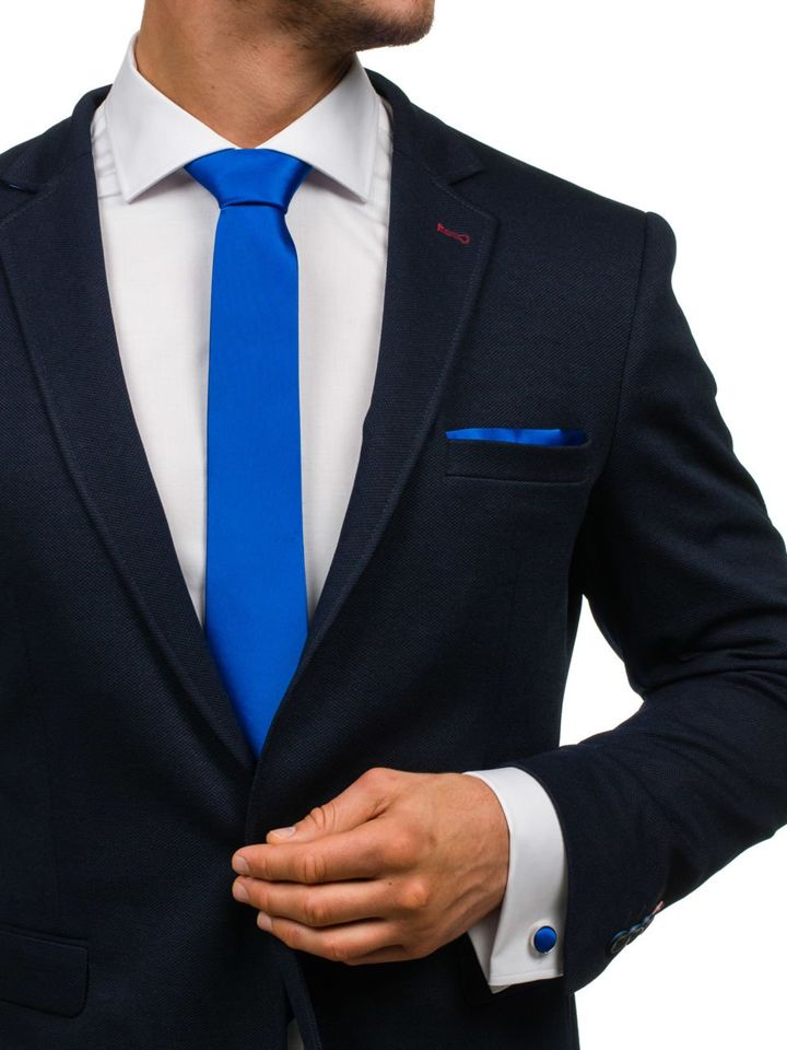 Set pentru bărbat cravată, butoni, batistă albastru-deschis Bolf KSP01