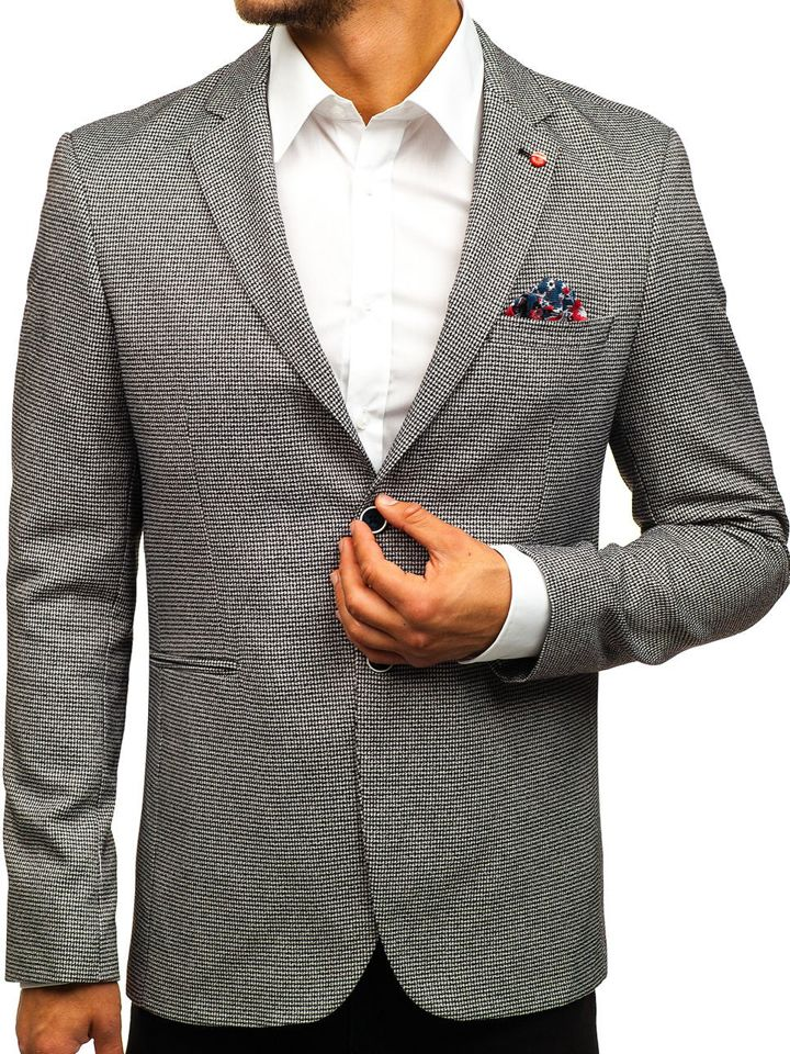 Sacou casual pentru bărbat negru Bolf 0158B