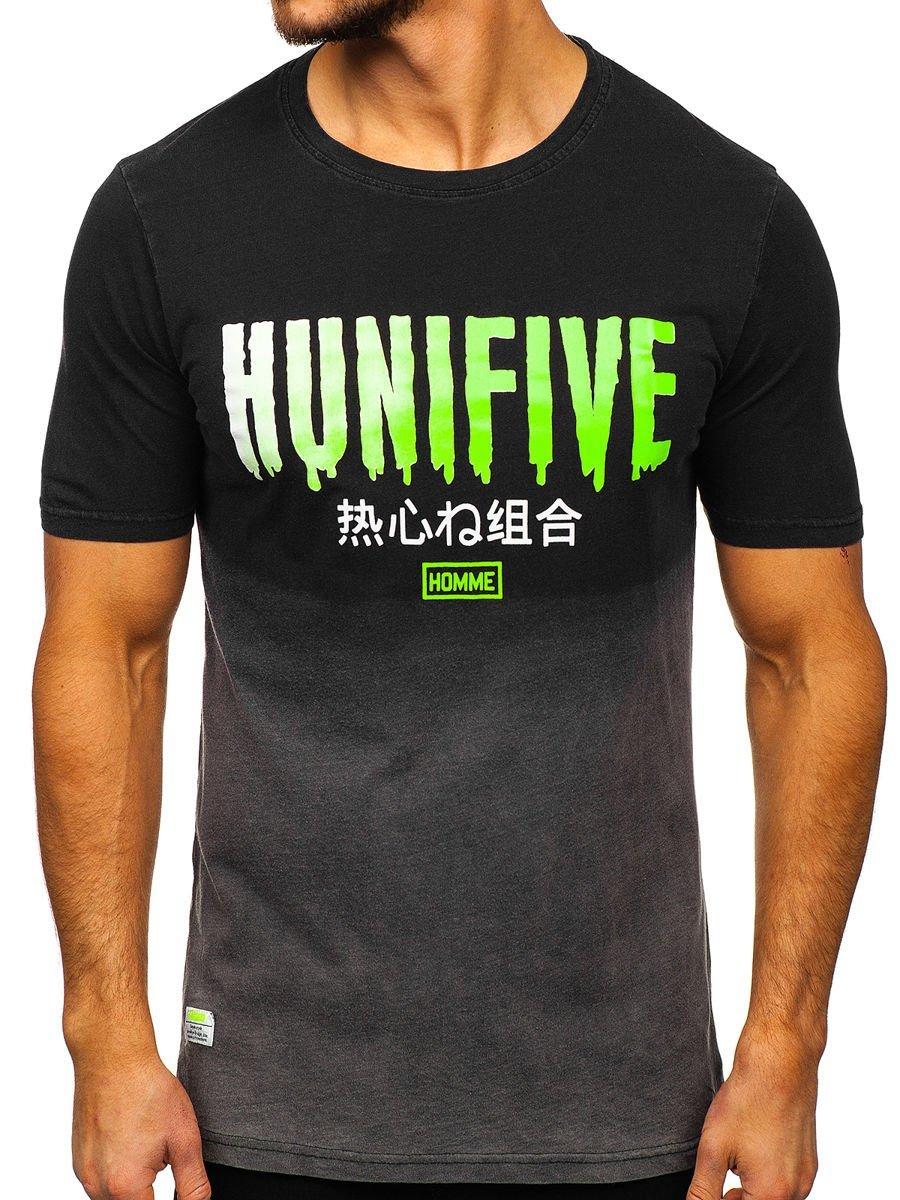 Tricou negru cu imprimeu bărbați Bolf HFM016 imagine