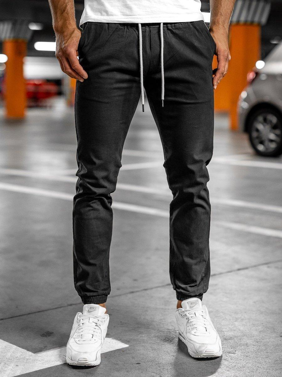 Pantaloni joggers negri Bolf 1145 imagine
