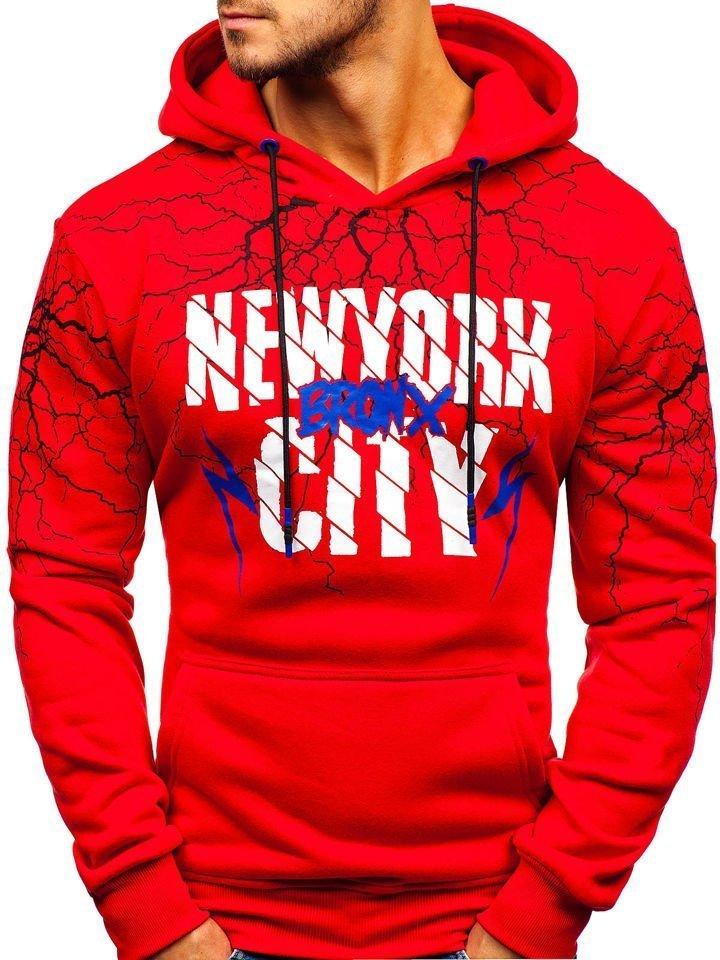 Bluză cu glugă și imprimeu pentru bărbat roșie Bolf 11011