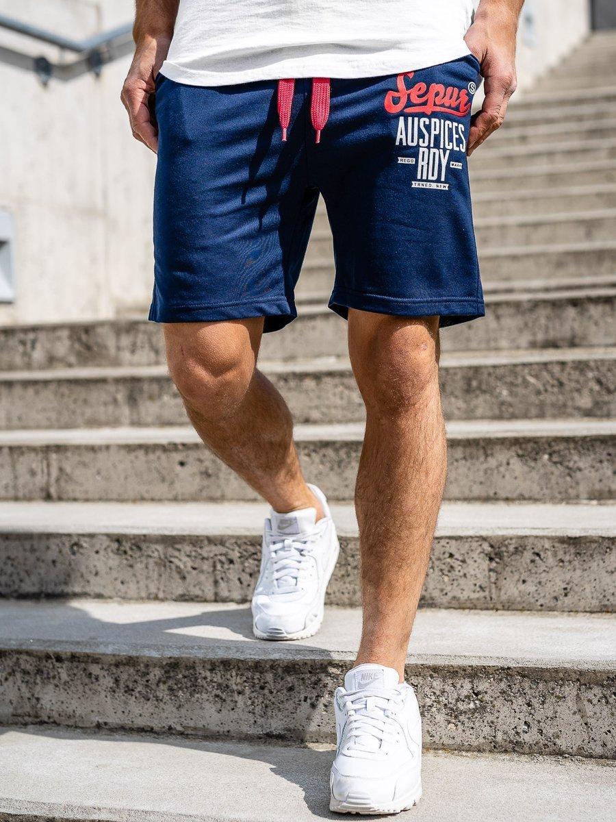 Pantaloni scurți de trening bleumarin bărbați Bolf EX07-1 imagine