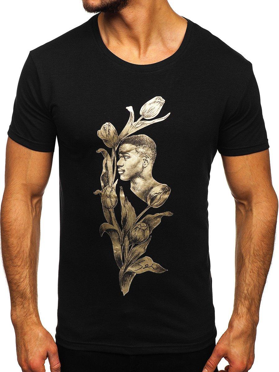 Tricou negru cu imprimeu Bolf Y70052 imagine